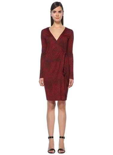Diane Von Furstenberg V Yaka Uzun Kollu Anvelop Elbise Kırmızı